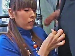 AlphaPorno Video - Japanese Girl In Turtleneck Has Oral On Bus