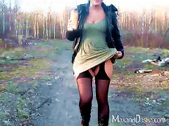 BravoTube Video - Salacious Russian Babe In Sexy Pantyhose Fingers Her Pussy In Outdoors POV Shoot